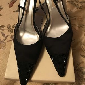 Black satin dress shoes
